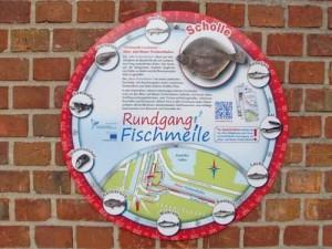 Informationstafeln über die Fischmeile in Cuxhaven