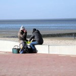 Picknick am Strand im Winter