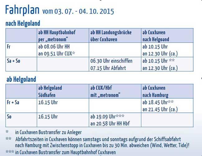 Fahrplan des Helgolandschiffes MS Helgoland